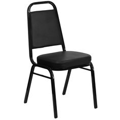 HERCULES Black Vinyl and Black Frame Trapezoidal Back Stacking Banquet Chair