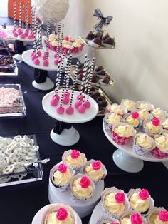 Black white and fuchsia theme candy bar Birthday Candy, Buffet, Black White, Bar, Desserts, Food, Pastries, Meal, Buffets