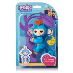 Fingerlings Interactive Baby Monkey Boris blue with orange hair  Authentic #WowWee