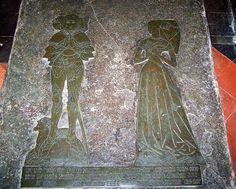 Sandon, Hertfordshire. John Fitzgeffrey esq 1480 and wife Elizabeth - a bull at his feet, a little dog at hers