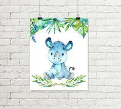 Baby Rhino Print Rhinoceros Jungle Nursery by justprintablesxoxo