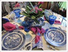 Blue and White Dishes for a Beautiful Lunch