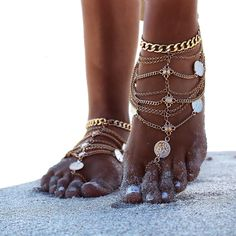 This handmade beauty is layers of goldchain with turkish coins, draped perfectly over your foot. Wear 1 or 2 for the bohemian bridal feel. Looks amazing with strappy heels or your favourite summer…
