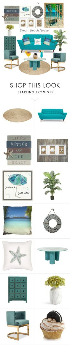 """""""Beach House 🍧🌞👙"""" by kendall2526 ❤ liked on Polyvore featuring interior, interiors, interior design, home, home decor, interior decorating, Joybird, Green Leaf Art, Nearly Natural and Harbor House"""