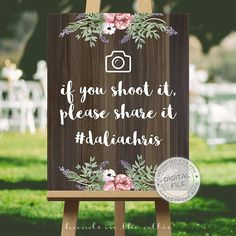 Wedding social media hashtag sign wedding signs ideas - IF you shoot it please SHARE it - hashtag instagram customized DIGITAL file by HandsInTheAttic