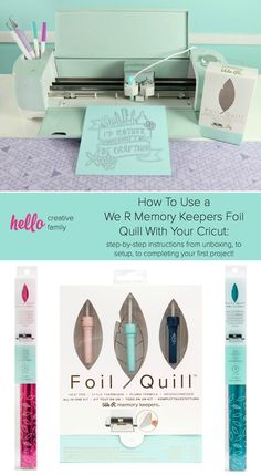 How To Use a We R Memory Keepers Foil Quill With Your Cricut: step-by-step photos and instructions from unboxing, to setup, to completing your first project! It's foiling made easy! Give your DIY paper crafts an embossed look with this amazing tool! Crafts For Teens To Make, Diy And Crafts, Diy Paper, Paper Crafts, Cricket Crafts, Cricut Help, We R Memory Keepers, Cricut Tutorials, Cricut Vinyl