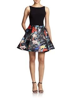 Alice + Olivia - Amabel Floral Print-Skirt Dress