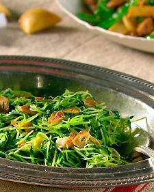 Pea Shoots with Garlic Can also use watercress, spinach, shredded cabbage, bok choy