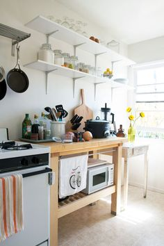 for kitchens with little space--add wood table and open shelving