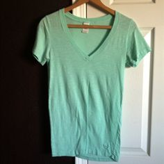 PINK v-neck sea foam so soft tee Perfect condition . Only worn once . A little sheer . So pretty with a sun kissed  tan :-) Victoria's Secret Tops Tees - Short Sleeve