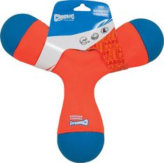 With the Chuckit! Tri-Bumper Dog Toy, your pup will get all of his favorite toys in one. This triple boomerang is made of 3 tennis balls on the end which makes it easy for you to throw and easier for your dog to pick up. This toy is also ideal for hours of fun water play due to it's foam core and buoyancy. On land, you can use this toy for a game of fetch as it flies far and tumbles wildly, endlessly sparking Spark's interest.