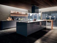 Download the catalogue and request prices of Velvet profile c By gd arredamenti, lacquered wood veneer kitchen with island, contemporary Collection