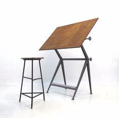 Friso Kramer & Wim Rietveld –verstellbarer Reply Zeichentisch 50er/60er Jahre in Antiquitäten & Kunst, Design & Stil, 1960-1969   eBay!