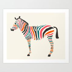 Zebra Art Print by Jazzberry Blue | Society6