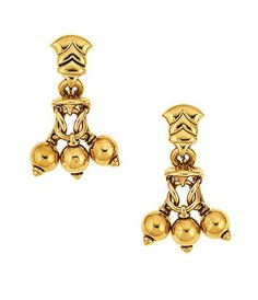 A pair of 'Naturalia' earrings, by Bulgari Each composed of a geometric link surmount suspending a capped trio of circlet links with polished bead pendants, post and clip fittings, 4.5cm long Signed Bvlgari