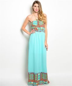 Bareless shoulder maxidress, maxi skirt cascades from an elasticized waistline.