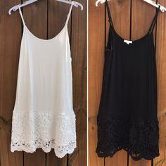 Lace Dress Extender Slip Cami Tunic Top Shirt Underwear Lingerie white ivory black women's clothing lace slip extender lace shirt extender by rmarmadu on Etsy https://www.etsy.com/listing/532265476/lace-dress-extender-slip-cami-tunic-top *Large In White & Black*