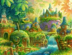 Trendy Ideas For Amazing Art Fantasy Forests Fantasy Forest, Fantasy House, Fantasy World, Fantasy Art Landscapes, Fantasy Landscape, Landscape Art, Fantasy Kunst, Environmental Art, Cute Art