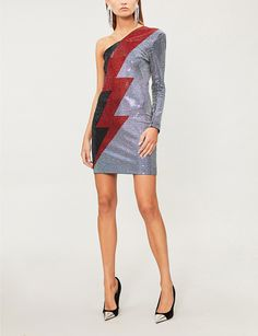 5634c8c34588 BALMAIN Lightning-bolt crystal-embellished woven dress