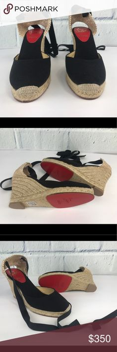 """Christian Louboutin Black Canvas Espadrilles 37 Christian Louboutin Black Canvas """"Wrap Around Espadrille"""" Wedges SZ 37 Christian Louboutin """"Wrap Around Espadrille"""" canvas wedges featuring a tie strap, low platform, and red leather outsole.  Size: 37 Color*: Black  Made in: Spain Fabric Content: Canvas, Straw Condition: This item is brand new condition. Please reference photos. Christian Louboutin Shoes Espadrilles"""