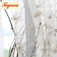 butterfly embroidered sheer curtains pearl noble curtains for living room bedroom window tulle curtain for kitchen door