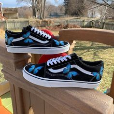 Blue Butterfly Old Skool Vans by customsbyuriel Custom Slip On Vans, Custom Sneakers, Custom Shoes, Vans Sneakers, Converse, Vans Old Skool Custom, Navy Blue Vans, Vanz, Jordan Shoes Girls