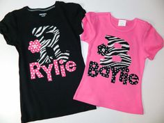 Baby girl tween teen shirt with zebra print by sweetpeppergrass, $29.00