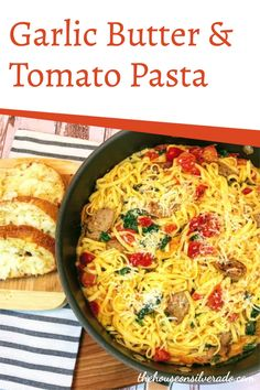 This Garlic Butter & Tomato Pasta is one-pot meal that cooks in just 30-minutes–perfect for when you need to get a fast dinner on the table that the whole family will love! Filled with fresh tomatoes, spinach, and optional sliced Italian sausage, it's a versatile meal that can easily be made meatless by leaving out the sausage. Plus, the buttery, garlicky sauce will have everyone asking for more! How To Cook Shrimp, How To Cook Pasta, How To Cook Chicken, Quick Weeknight Meals, Easy Meals, Tomato Side Dishes, Garlic Butter Pasta, Pre Cooked Chicken, Fast Dinners