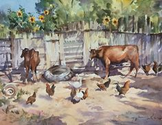 """""""Back of the Farm""""'watercolour by Trevor Waugh"""