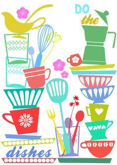 Dishes - Art Print by Elisandra