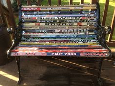 Hockey stick Bench made from my kid's hockey sticks and an old cast iron set of bench ends.
