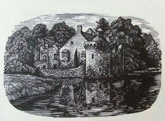 REYNOLDS STONE wood engraving. Scotney Castle near Lamberhurst in Kent. 1960