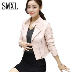 SMXL Motorcycle PU Leather Jacket Women Winter New Fashion Coats Zipper Outerwear jackets slim black zipper *** AliExpress Affiliate's buyable pin. Click the image to find out more on www.aliexpress.com