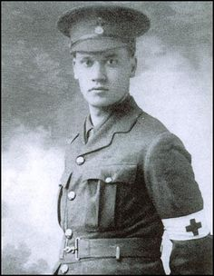 Christopher Nevinson in Red Cross uniform. A pacifist, Nevinson volunteered for duty at the front with the Red Cross. He worked as a driver, stretcher-bearer and hospital orderly during 1914 - 15.