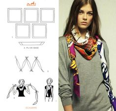 Hermès Carte à nouer. wearing a square scarf as a skinny knotted scarf.