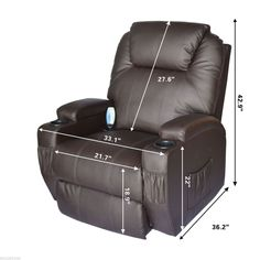 HomCom Massage Heated PU Leather 360 Degree Swivel Recliner Chair with Remote  Brown *** Read more reviews of the product by visiting the link on the image. (This is an affiliate link) #AshleyRusticFurniture