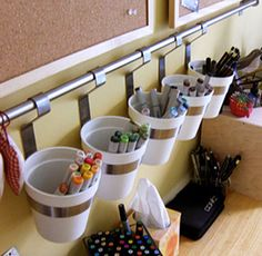 Hanging Buckets Organization Rack - or in a craft or art room. music theory music games