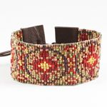 Chan Luu Seed Bead Cuff Bracelet with Leather - Red Mix