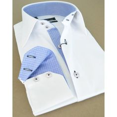 #French #Shirt - White shirt, inside checkered blue pattern for collar and sleeves at Australia &  New Zealand