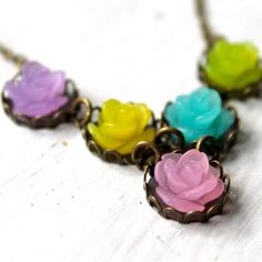 Frosted Rose Spring Floral Bib Necklace by MomoTreesJewels on Etsy, $15.00
