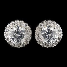Circular Cubic Zirconia Pave Stud Earrings in Silver 4046