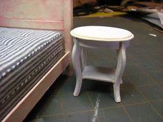 Dollhouse miniatura de los muebles - Tutoriales | minis 1 pulgada: Cómo hacer una mesa auxiliar de cartulina.
