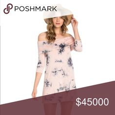"""1 DAY SALE❤Pink & Gray Tie Dye Sleeve Dress ❤BEST SELLLER❤ MADE IN USA. Tie dye print off the shoulder dress 3/4 Sleeves. 95% polyester 5% Spandex MEASUREMENTS: for a small laying flat are: SHOULDER: 16 BUST: 15"""" WAIST 19"""" and length 33"""" medium SHOULDER: 17"""" BUST: 16"""" WAIST: 20"""" LENGTH 34"""" and for large  SHOULDER: 18"""" BUST: 17"""" WAIST: 21"""" LENGTH 35"""" Jayssboutique Dresses"""