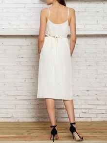 White Sun Beach Spaghetti Strap Cut Out Waist Maxi Dress Skirts -SheIn(Sheinside)