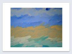 Pintura realizada en acrílico y lápiz sobre  tela, medidas: 36 x 46 centímetros.  Autor: Eduardo Rosales. Serie: Cielos, Ríos y Mares.