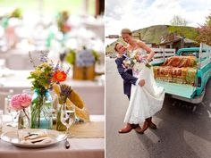 Outdoor Rustic Wedding Centerpieces   Colorful wedding reception centerpieces and a vintage wedding day ride ...