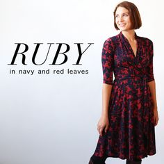 this 3/4 sleeve dress is a faux wrap dress. the ruby features a full, knee length skirt. machine wash cool, hang dry, no ironing ever needed! the ruby is an american made dress crafted with love in Brooklyn, NY.