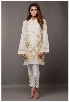 Bring a glamorous uplift to your 2018 wardrobe with Sania Maskatiya aesthetic clothing range from formal dresses to luxury Pret wears collection. Shop online now!Cotton net shirt featuring floral embroidery and ornamental buttons along the neckline. Pakistani Fashion Casual, Pakistani Dresses Casual, Pakistani Dress Design, Pakistani Bridal, Muslim Fashion, Bridal Lehenga, Pakistani Gowns, Wedding Lehnga, Indian Dresses