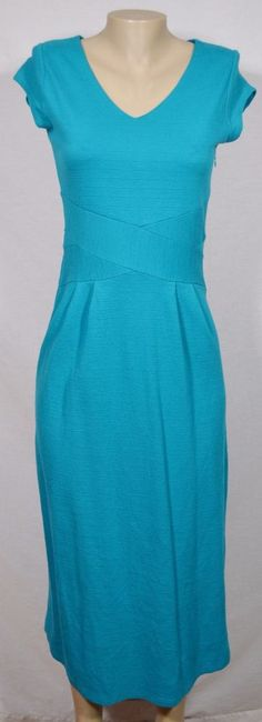 ISAAC MIZRAHI LIVE Cyan Blue Cap Sleeve Dress 2P Petite Textured Stripe V Neck #IsaacMizrahi #Sheath #Casual