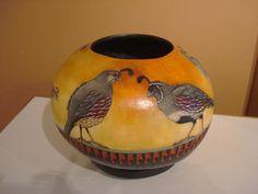 Gambels Quail, gourd art, Denise Meyers